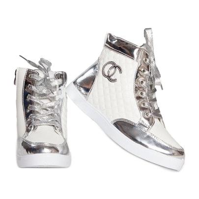 Wysokie Trampki Sneakersy R17 Biały białe srebrny