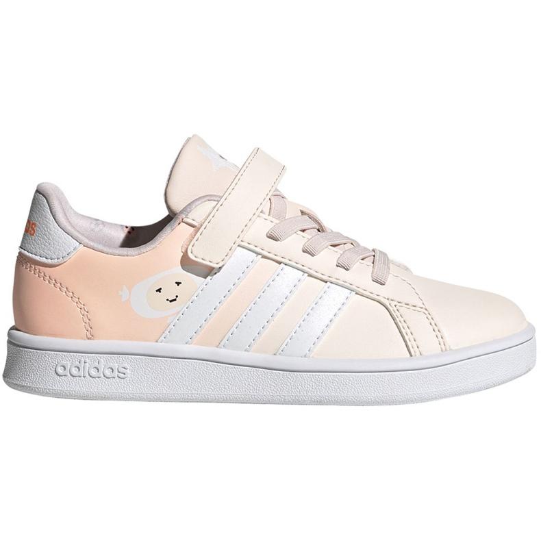 Buty adidas Grand Court C Jr FW4937 ecru różowe