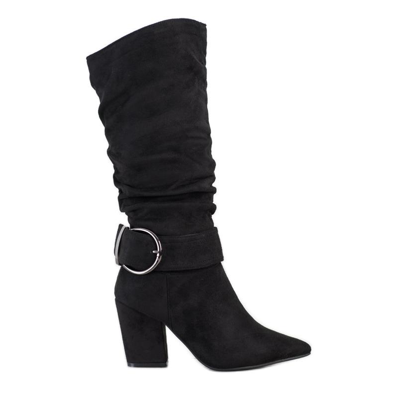 Sweet Shoes Eleganckie Kozaki Z Klamrą czarne