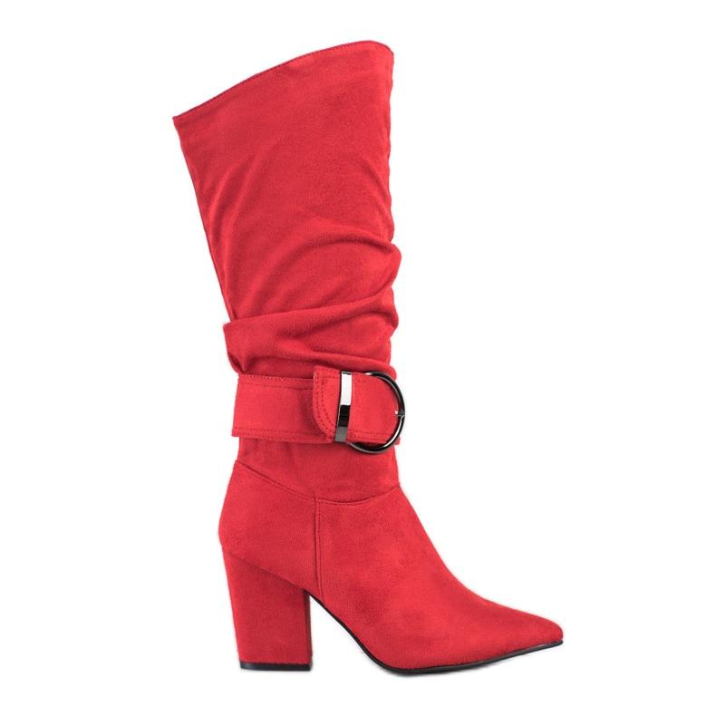 Sweet Shoes Eleganckie Kozaki Z Klamrą czerwone