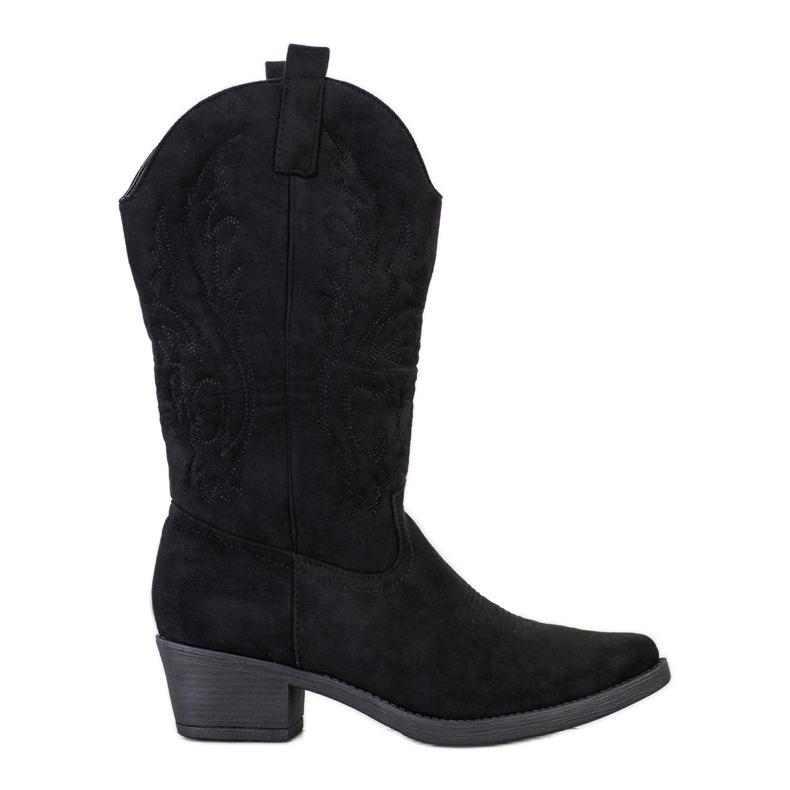 Ideal Shoes Kowbojki Na Niskim Słupku czarne