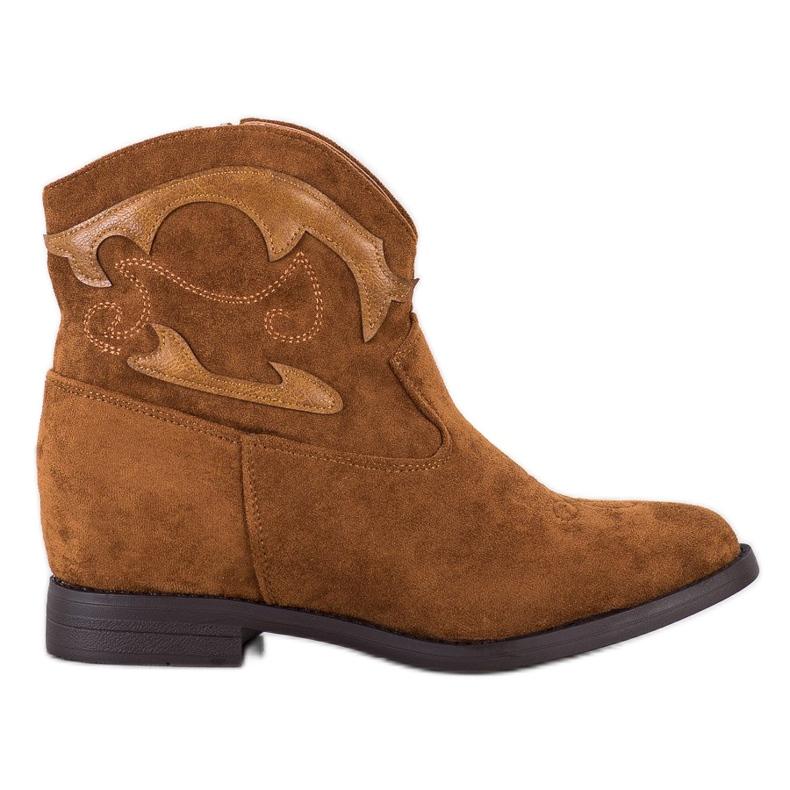Ideal Shoes Brązowe Kowbojki Ukryte Koturno