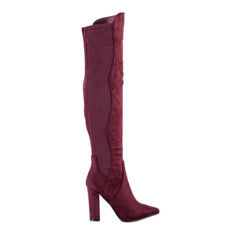 Sweet Shoes Wysokie Kozaki W Szpic czerwone