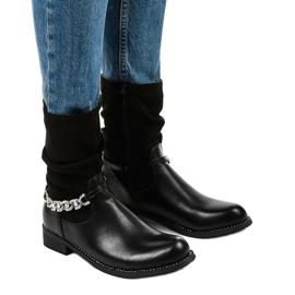 Czarne płaskie botki ocieplane na suwak Petgella srebrny
