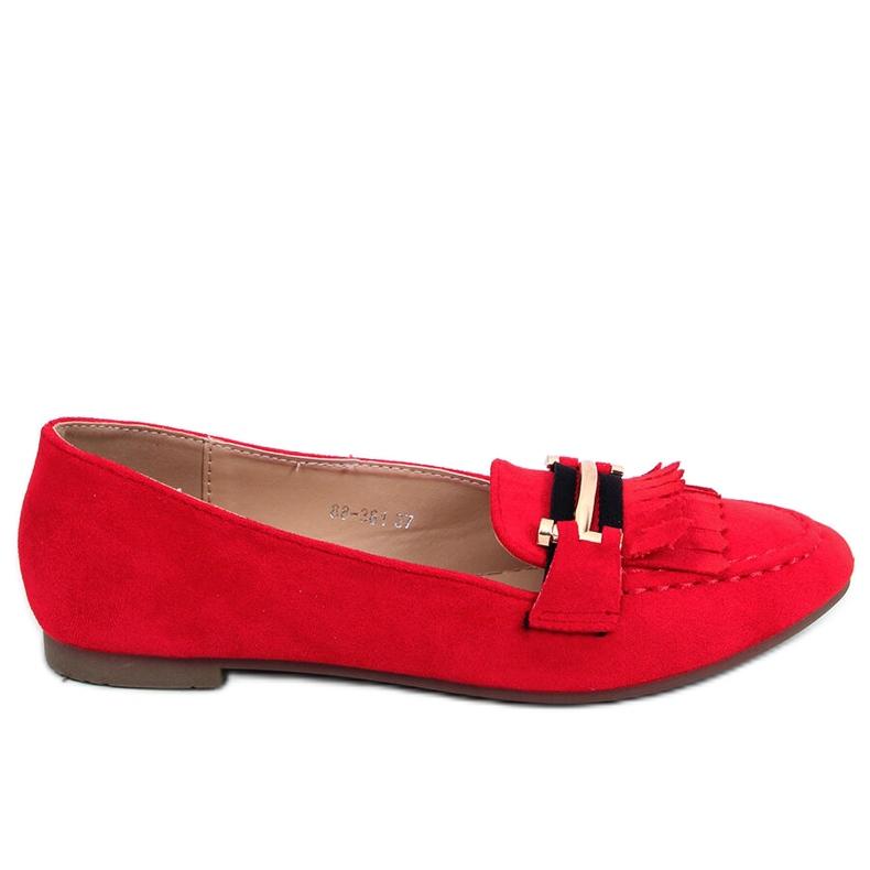 Mokasyny damskie czerwone 88-381 Red