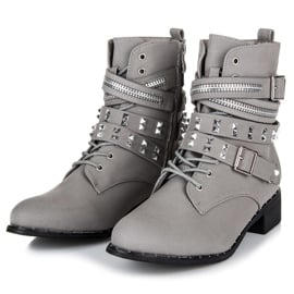 Vices New Collection Rockowe botki workery szare 3