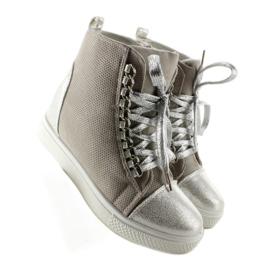 Sneakersy z łańcuszkami R72 Grey3 / Silver szare 7