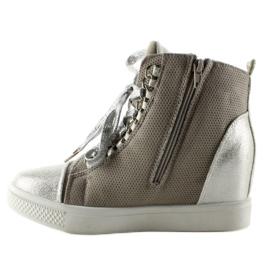 Sneakersy z łańcuszkami R72 Grey3 / Silver szare 1