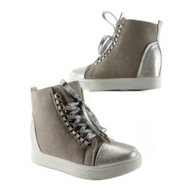 Sneakersy z łańcuszkami R72 Grey3 / Silver szare 3