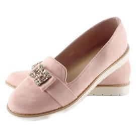 Pastelowe zamszowe mokasyny T245 Pink różowe 3