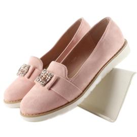 Pastelowe zamszowe mokasyny T245 Pink różowe 1