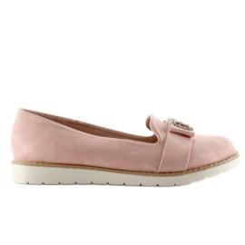 Pastelowe zamszowe mokasyny T245 Pink różowe 4