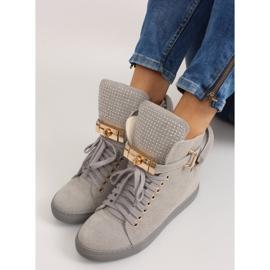 Sneakersy z kłódką XW37012-3 Grey Suende szare 6