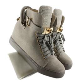 Sneakersy z kłódką XW37012-3 Grey Suende szare 7