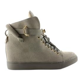 Sneakersy z kłódką XW37012-3 Grey Suende szare 3