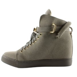 Sneakersy z kłódką XW37012-3 Grey Suende szare 1