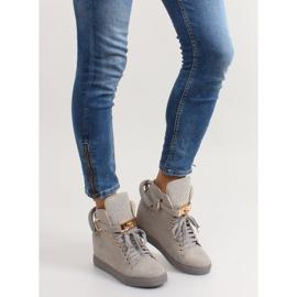 Sneakersy z kłódką XW37012-3 Grey Suende szare 2