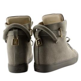 Sneakersy z kłódką XW37012-3 Grey Suende szare 4