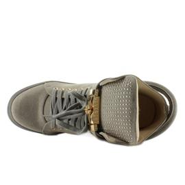 Sneakersy z kłódką XW37012-3 Grey Suende szare 5