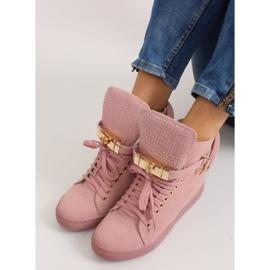 Sneakersy z kłódką XW37012-3 Pink Suende różowe 6