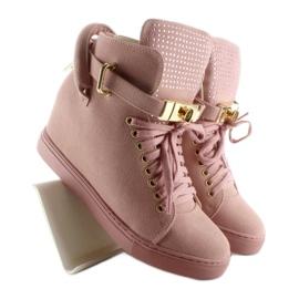 Sneakersy z kłódką XW37012-3 Pink Suende różowe 3