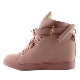 Sneakersy z kłódką XW37012-3 Pink Suende różowe 1