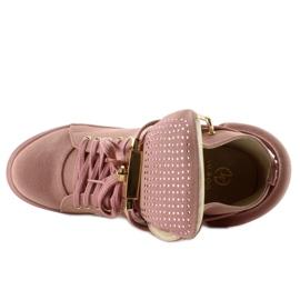 Sneakersy z kłódką XW37012-3 Pink Suende różowe 2
