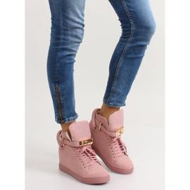 Sneakersy z kłódką XW37012-3 Pink Suende różowe 4