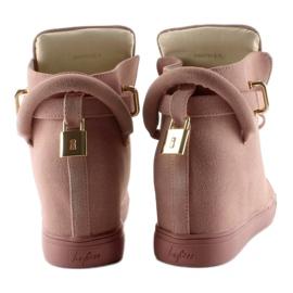 Sneakersy z kłódką XW37012-3 Pink Suende różowe 5