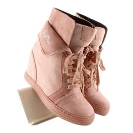 Sneakersy zamszowe B12-22 Pink różowe 7