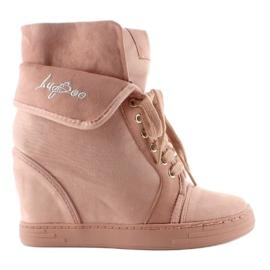 Sneakersy zamszowe B12-22 Pink różowe 4