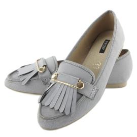 Mokasyny w stylu vintage 3052 Grey szare 4
