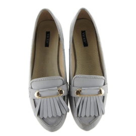 Mokasyny w stylu vintage 3052 Grey szare 2