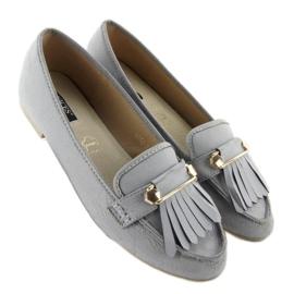 Mokasyny w stylu vintage 3052 Grey szare 3