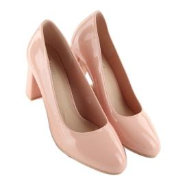 Lakierowane czółenka szeroki obcas m263p Pink różowe 1