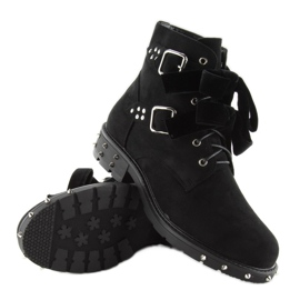 Stylowe botki z ćwiekami CLS-30 Black czarne 7