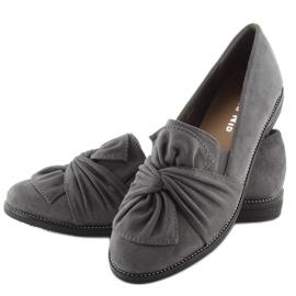 Mokasyny damskie z kokardką szare grey 4