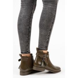 Ideal Shoes Kalosze Z Frędzlami zielone 5