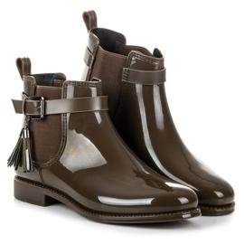Ideal Shoes Kalosze Z Frędzlami zielone 3