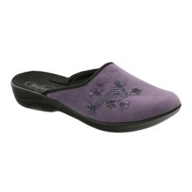Befado obuwie damskie kapcie klapki 552D006 fioletowe wielokolorowe 1