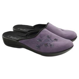 Befado obuwie damskie kapcie klapki 552D006 fioletowe wielokolorowe 4