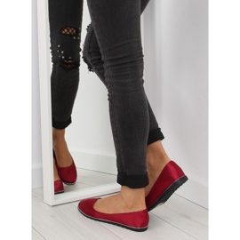 Satynowe balerinki bordowe A8621 red czerwone 2