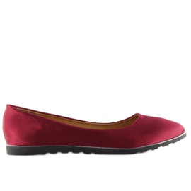 Satynowe balerinki bordowe A8621 red czerwone 6