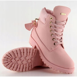 Timberki z kłódką szare 1302 Pink różowe 4