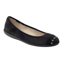 Befado obuwie damskie balerinki kapcie 309q015 czarne 1