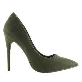Czółenka na szpilce zamszowe zielone 5101 Green 3