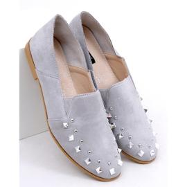 Mokasyny lordsy z ćwiekami szare 1415 Grey 1