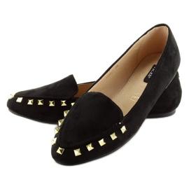 Mokasyny damskie z ćwiekami czarne 1388 Black 4