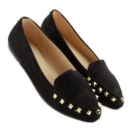 Mokasyny damskie z ćwiekami czarne 1388 Black 5
