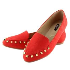Mokasyny damskie z ćwiekami czerwone 1388 Red 4